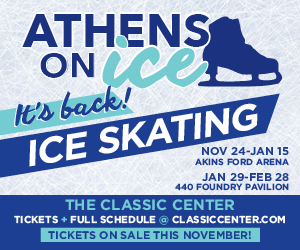 Text in image: Ice Skating in Athens, Classic Center, Athens, GA