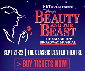 Text in ad:  Beauty and the Beast, September 21-22, 2015, The Classic Center Theatre