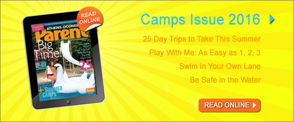 Image of magazine cover; Text in image: Read the Camps 2016 issue of Athens-Oconee Parent Magazine online