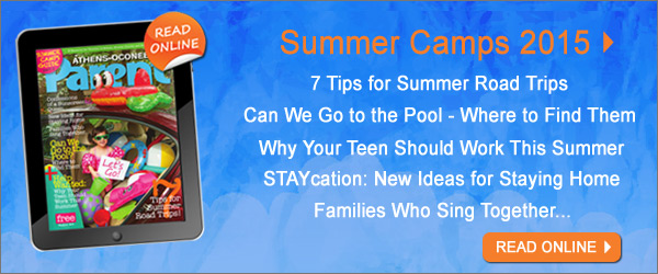 Image of magazine cover; Text in image: Read the Camps 2015 issue of Athens-Oconee Parent Magazine online