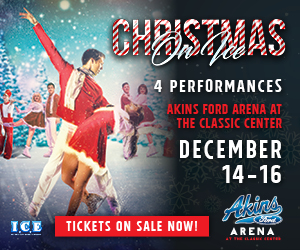 Text in image: Christmas on Ice, Classic Center, Athens, GA