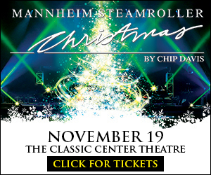 Text in image: Classic Center, Mannheim Steamroller 2017