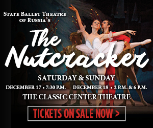Text in image: The Nutcracker at The Classic Center